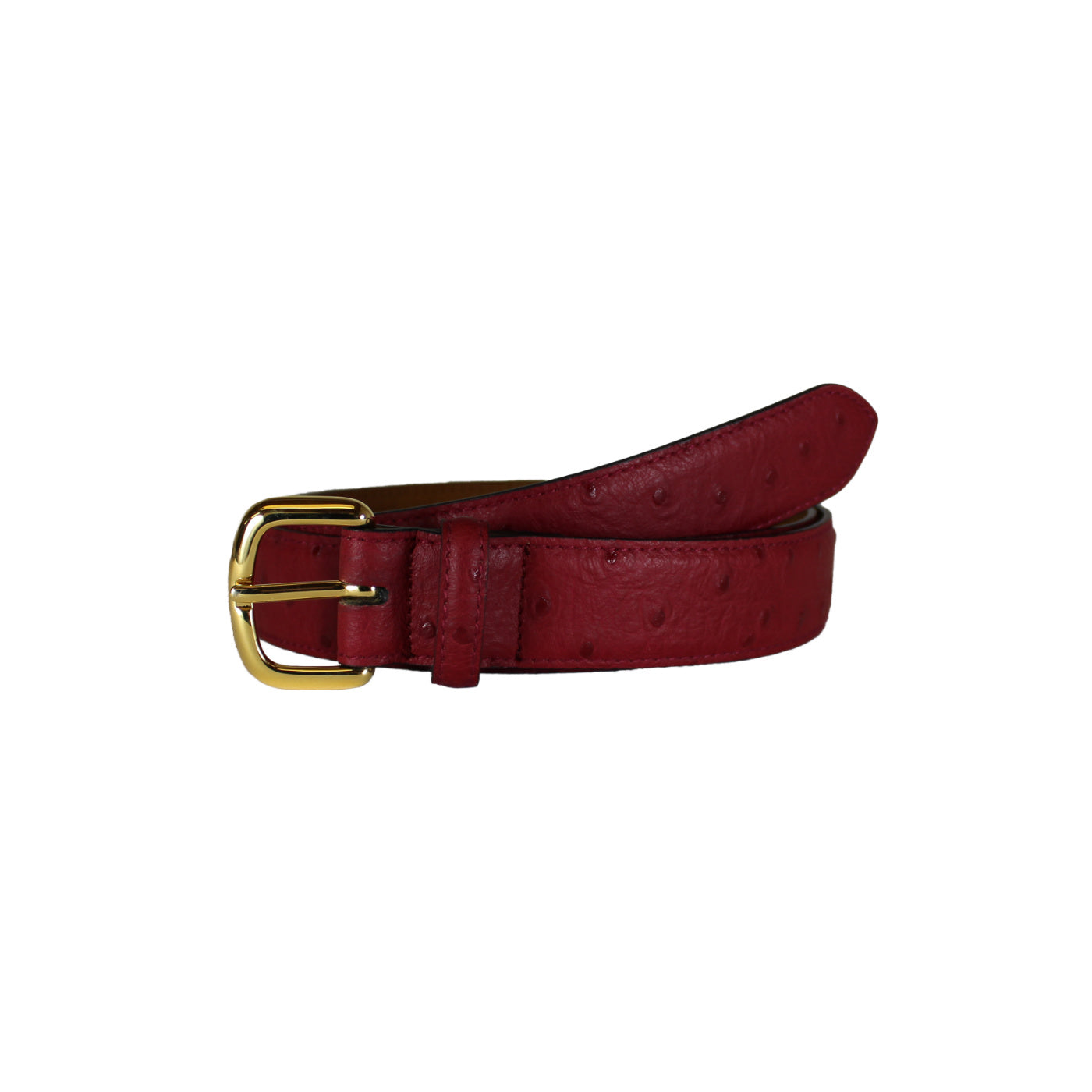 "Ostrich Stamp Red Dress Vegetable Tanned Leather Belt (Width 30mm - 1¼"")"