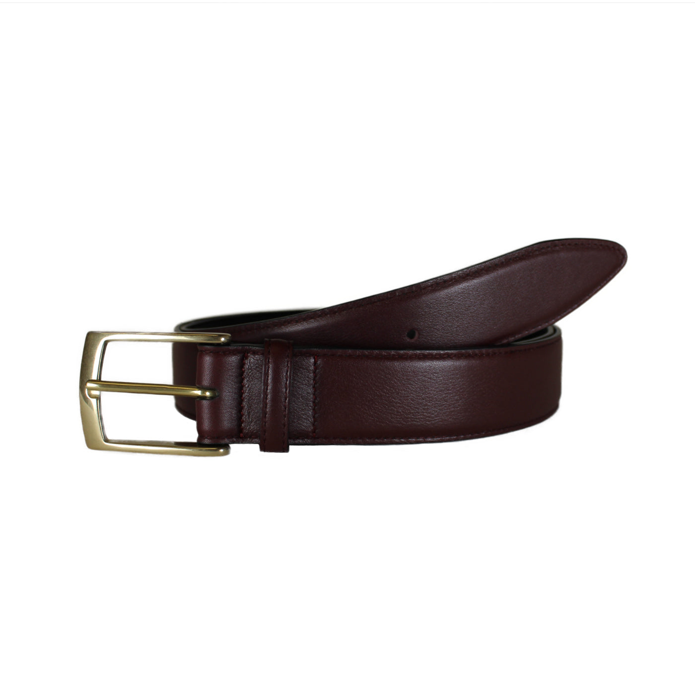 "Burgundy Lined Vegetable Tanned Leather Belt  (Width 35 mm - 1 ½"")"