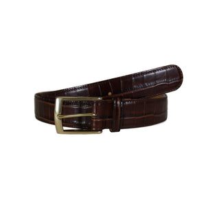 "Croccodile Stamp Brown Vegetable Tanned Leather Belt (Width 35 mm - 1 ½"")"