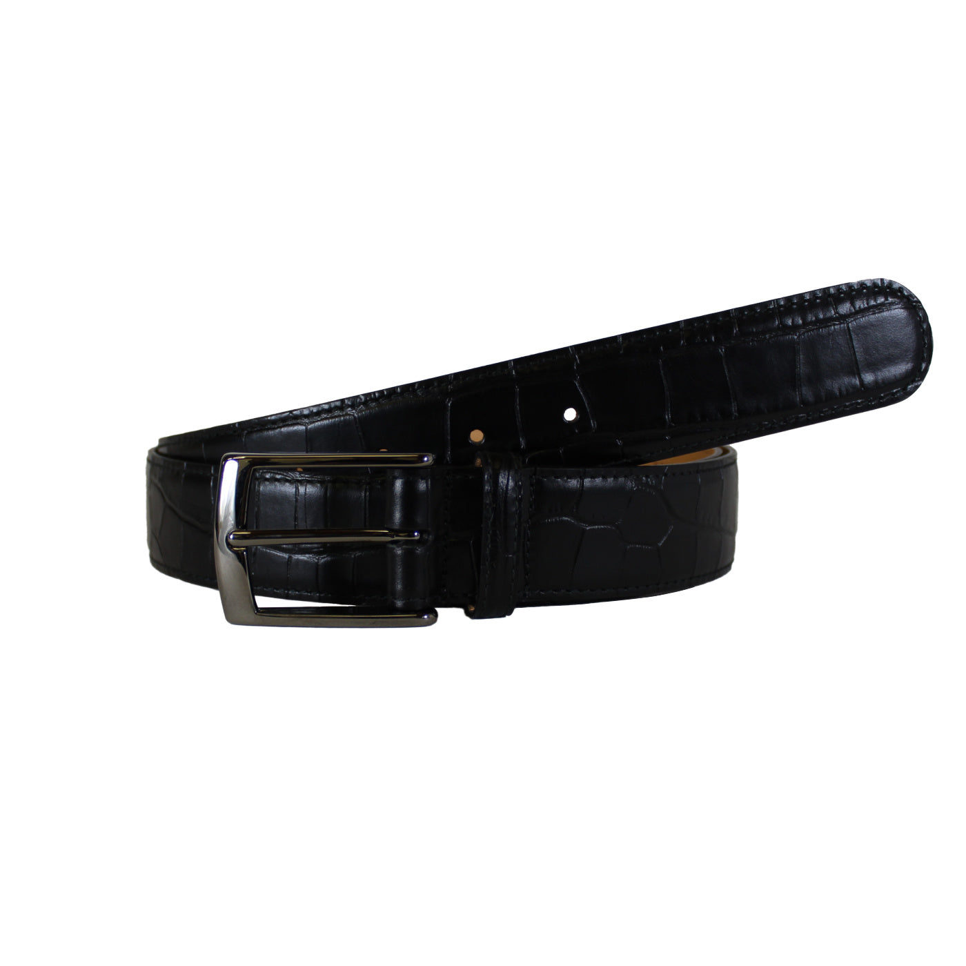"Croccodile Stamp Black Vegetable Tanned Leather Belt (Width 35 mm - 1 ½"")"
