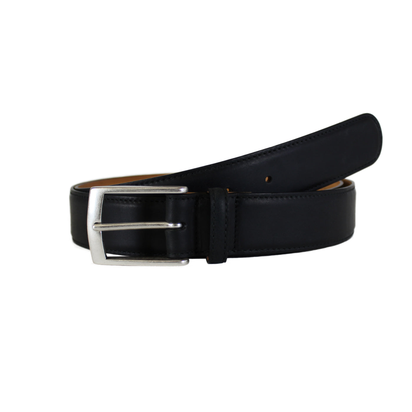 "Black Soft Vegetable Tanned Leather Belt (Width 35 mm - 1 ½"")"