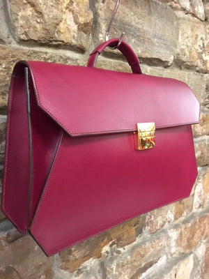 Fuchsia business briefcase Italian leather handmade