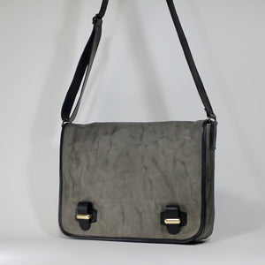 Grey unisex leather messenger bag made in Italy