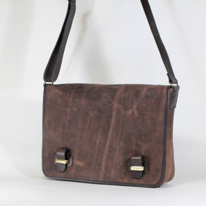 Brown unisex leather messenger bag made in Italy
