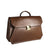 Brown business briefcase Italian leather handmade
