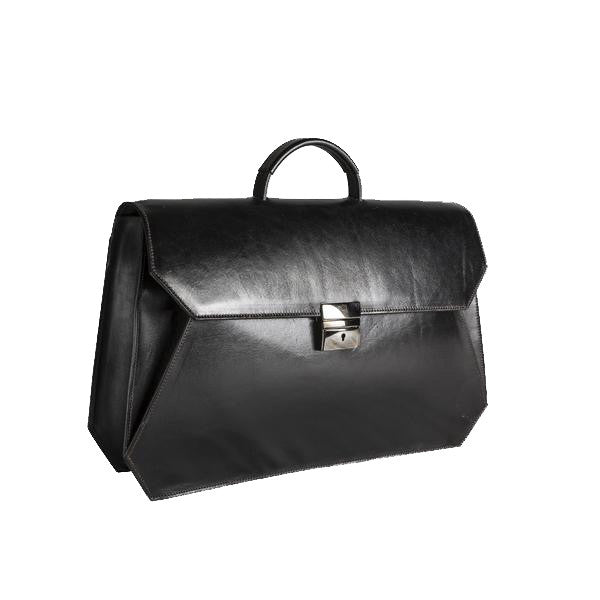 Black business briefcase Italian leather handmade