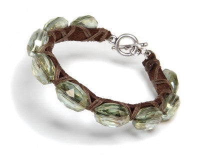 Crystals & Leather Bracelet - Roman-Glass-Jewelry.com