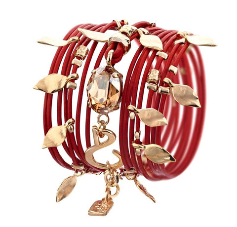 Red Bracelet With Golden Charms - Roman-Glass-Jewelry.com