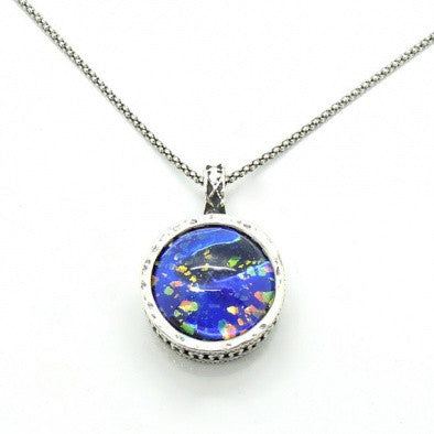 Blue Murano & Silver Necklace - Roman-Glass-Jewelry.com  - 1