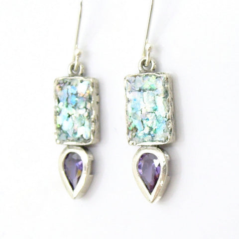 Drop Shaped Purple Zircon & Roman Glass Earrings - Roman-Glass-Jewelry.com  - 1