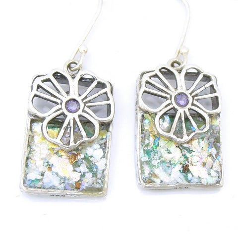 Sterling Silver Flower Shaped Earrings With Roman Glass - Roman-Glass-Jewelry.com  - 1