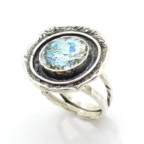 Round Hammered Silver & Roman Glass Ring - Roman-Glass-Jewelry.com  - 1