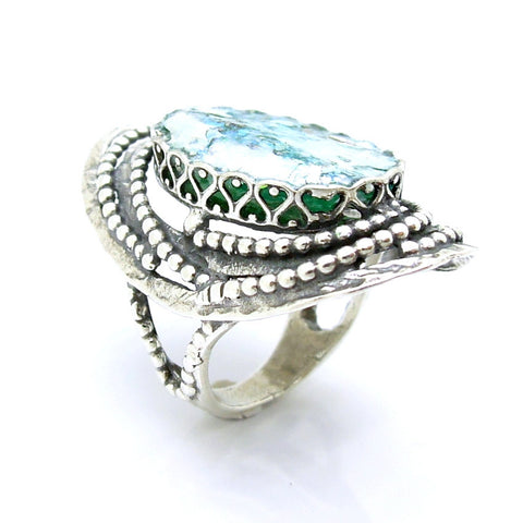 Large Oriental Style Oval Silver & Roman Glass Ring - Roman-Glass-Jewelry.com  - 1