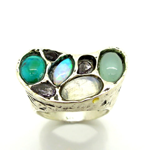 Chalcedony, Moonstone, Purple Zircon & Turquoise Gemstone Ring - Roman-Glass-Jewelry.com  - 1