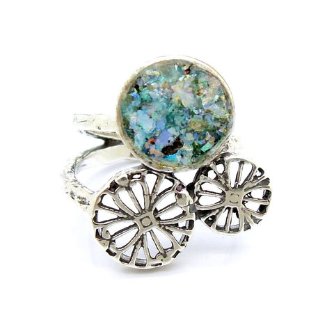 Large Silver Filigree & Roman Glass Ring - Roman-Glass-Jewelry.com  - 1