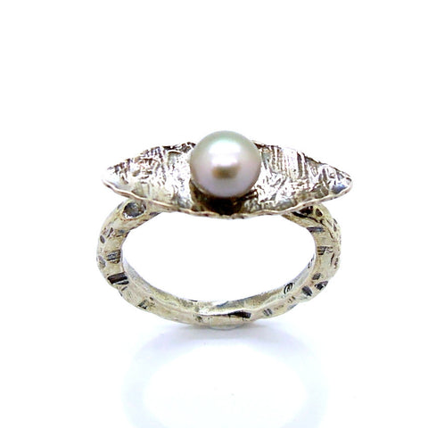 Oval Sterling Silver & Pearl Ring - Roman-Glass-Jewelry.com  - 1