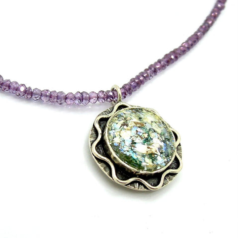 Amethyst Beaded & Ancient Roman Glass Necklace - Roman-Glass-Jewelry.com  - 1