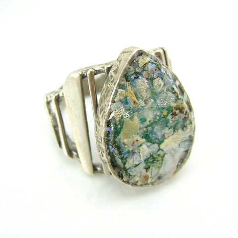 Large Drop Shaped Roman Glass & Silver Ring - Roman-Glass-Jewelry.com  - 1