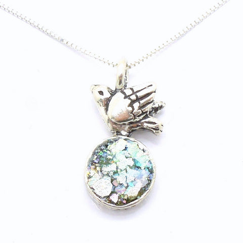 Silver Dove & Roman Glass Pendant - Roman-Glass-Jewelry.com  - 1