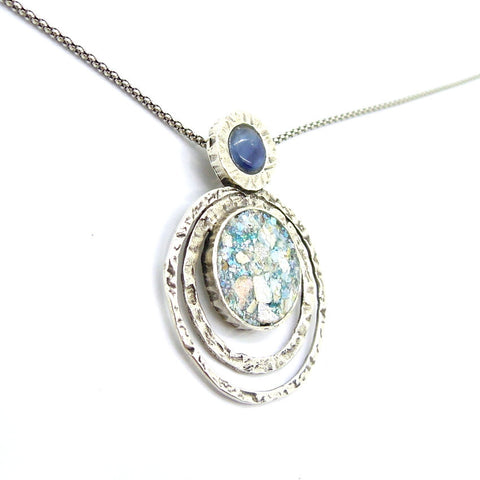Blue Kyanite & Roman Glass Pendant - Roman-Glass-Jewelry.com  - 1
