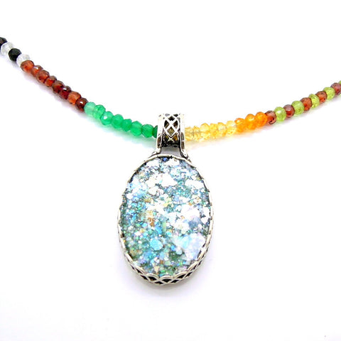 Bead Gemstones & Roman Glass Necklace - Roman-Glass-Jewelry.com  - 1