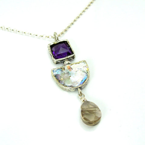 Roman Glass, Amethyst & Quartz Pendant - Roman-Glass-Jewelry.com  - 1
