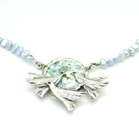 """Doves of Peace"" Roman Glass & Silver Pendant - Roman-Glass-Jewelry.com  - 1"