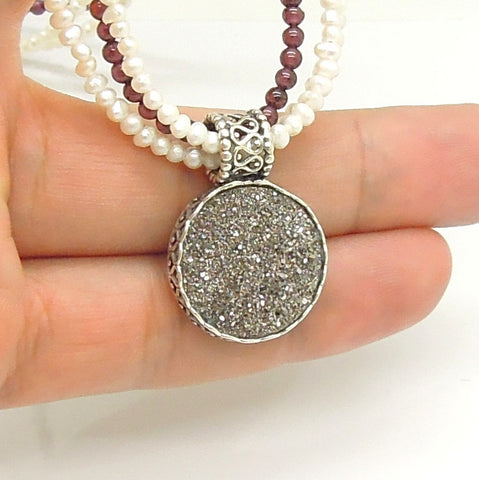 Garnet & Pearls Necklace With A Beautiful Platinum Druzy Pendant In A Silver Setting - Roman-Glass-Jewelry.com  - 1