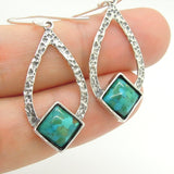 Drop Shaped Hammered Silver & Turquoise Earrings - Roman-Glass-Jewelry.com  - 6