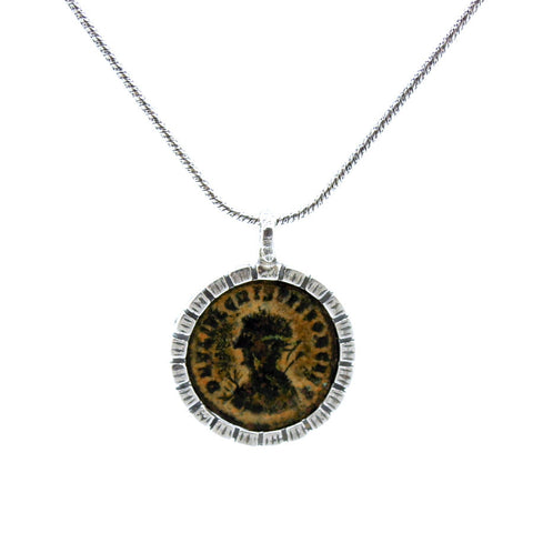 Ancient Roman Coin & Silver Pendant - Roman-Glass-Jewelry.com  - 1