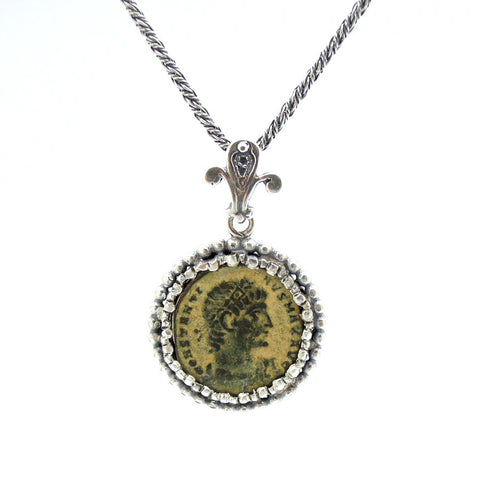 Authentic Ancient Roman Coin & Silver Pendant - Roman-Glass-Jewelry.com  - 1