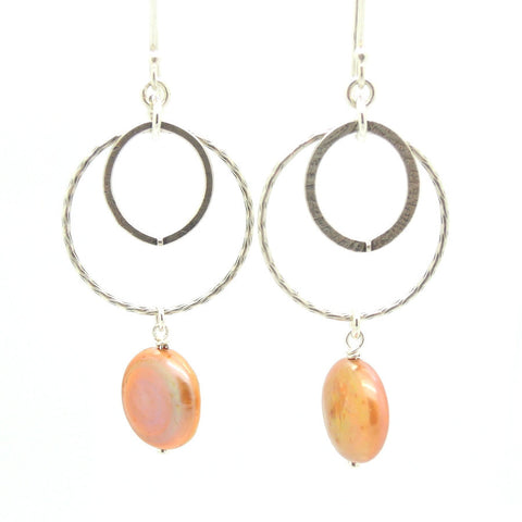 Pearl Coin & Sterling Silver Chandelier Earrings - Roman-Glass-Jewelry.com  - 1