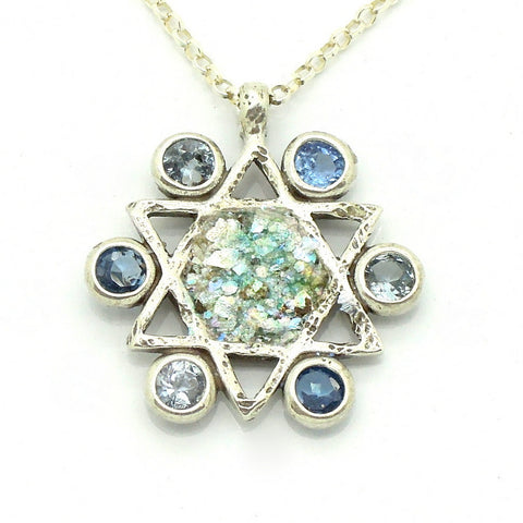 Blue Topaz & Roman Glass Star Of David Necklace - Roman-Glass-Jewelry.com  - 1