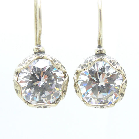 Flower shaped white zircon earrings in sterling silver - Roman-Glass-Jewelry.com  - 1