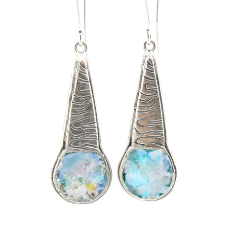Silver & Roman Glass Chandelier Earrings - Roman-Glass-Jewelry.com  - 1