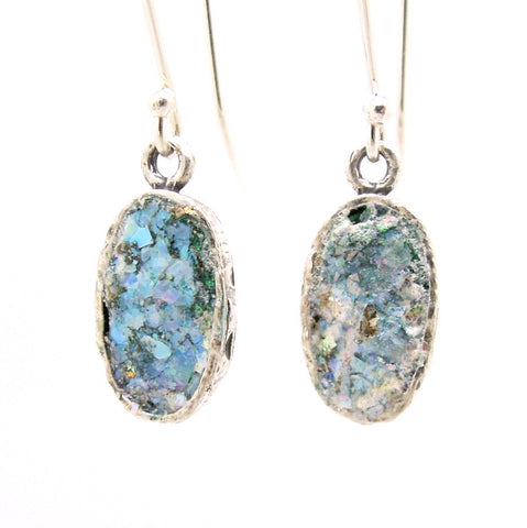 Oval Sterling Silver & Roman Glass Earrings - Roman-Glass-Jewelry.com  - 1