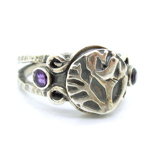 """Bird On Tree"" Silver & Amethyst Ring - Roman-Glass-Jewelry.com  - 1"