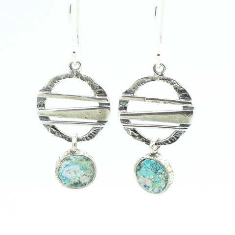 Silver Metalworks & Roman Glass Chandelier Earrings - Roman-Glass-Jewelry.com  - 1
