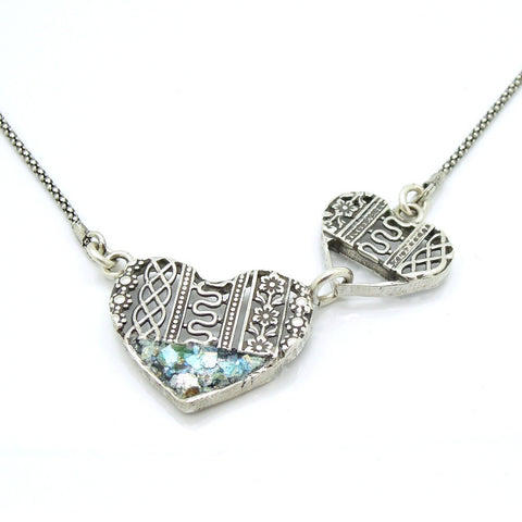 A Beautiful Silver Hearts With Roman Glass Necklace - Roman-Glass-Jewelry.com  - 1