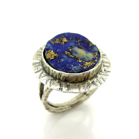 Round Lapis Lazuli Ring - Roman-Glass-Jewelry.com  - 1