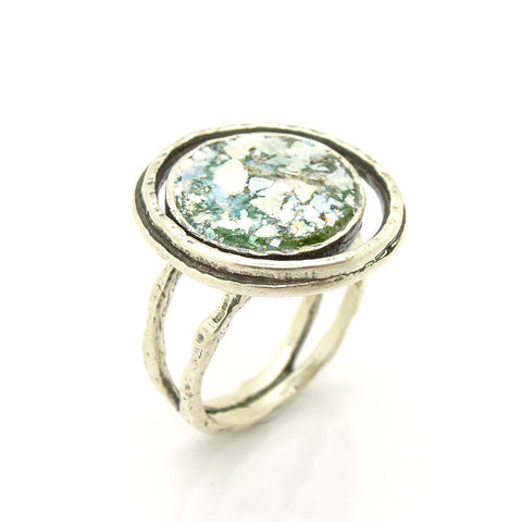 Large Silver & Ancient Roman Glass Ring - Roman-Glass-Jewelry.com  - 1