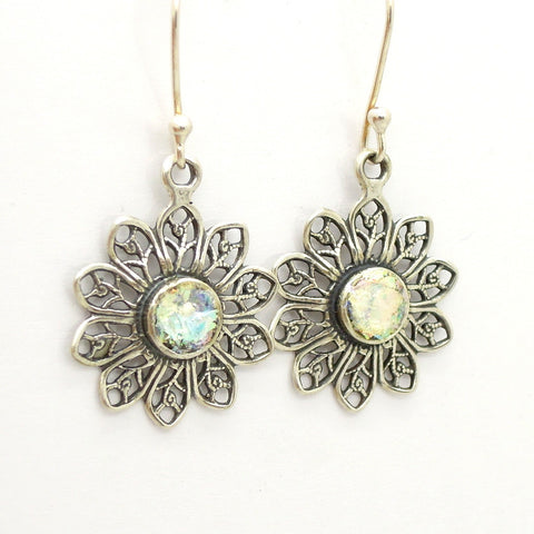 Silver Flower Filingree With Roman Glass Earrings - Roman-Glass-Jewelry.com  - 1