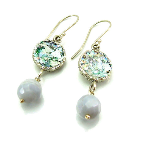 Blue Lace Stone & Roman Glass Earrings - Roman-Glass-Jewelry.com  - 1