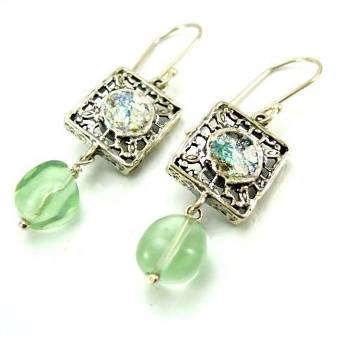 Fluorite Stone & Roman Glass Earrings - Roman-Glass-Jewelry.com  - 1