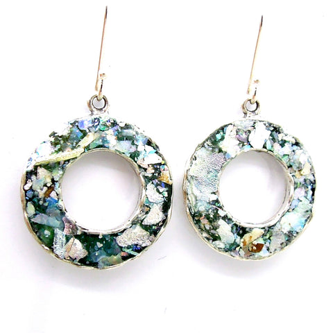Round Roman Glass & Silver Earrings - Roman-Glass-Jewelry.com  - 1