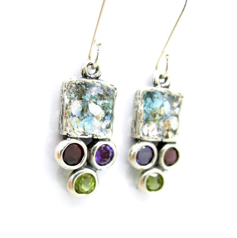 Adorable Gemstones, Silver & Roman Glass Earrings - Roman-Glass-Jewelry.com  - 1