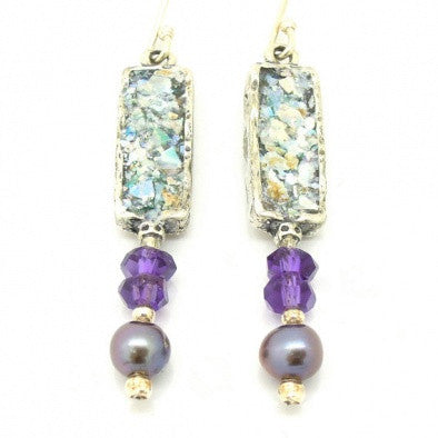 Roman Glass, Pearl & Amethyst Earrings - Roman-Glass-Jewelry.com  - 1