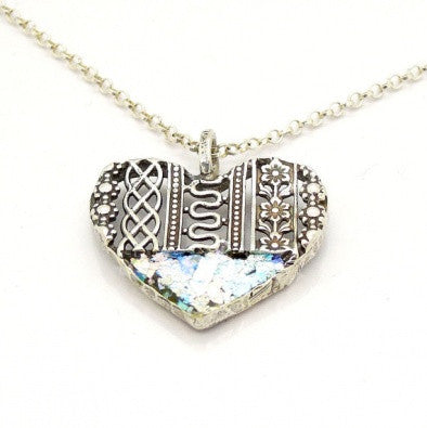 Roman Glass Heart Necklace - Roman-Glass-Jewelry.com  - 1