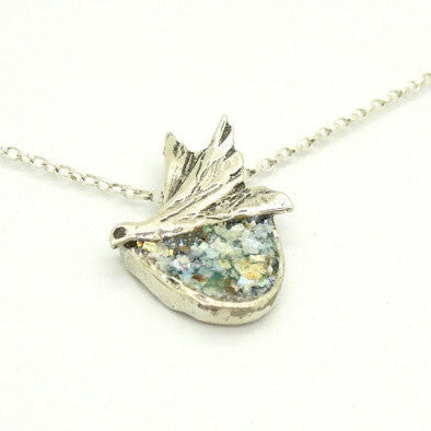"""The Dove"" Silver and Roman Glass Pendant - Roman-Glass-Jewelry.com  - 1"