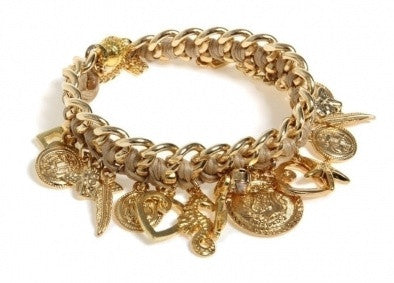 Golden Charms Bracelet - Roman-Glass-Jewelry.com  - 1